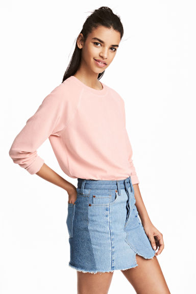 Sweatshirt i velour - Puderrosa - Ladies | H&M FI 1