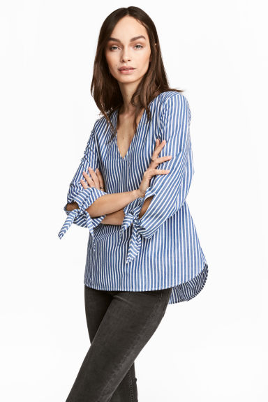 Striped blouse - Blue/White/Striped - Ladies | H&M GB 1