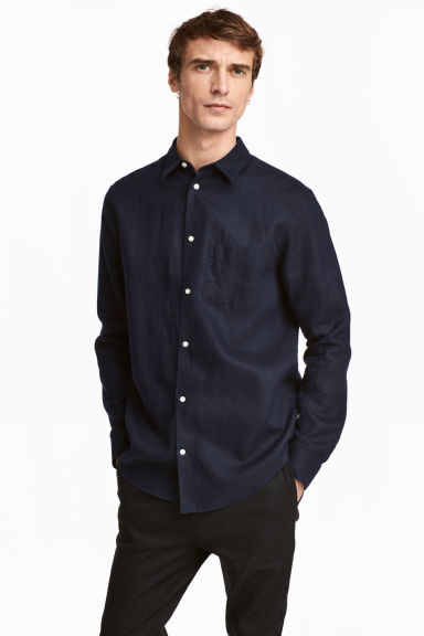 Linen shirt Relaxed fit - Dark blue - Men | H&M 1