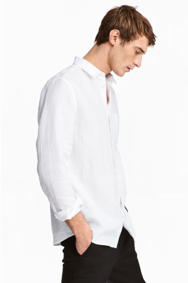 Linen shirt Relaxed fit - White - Men | H&M