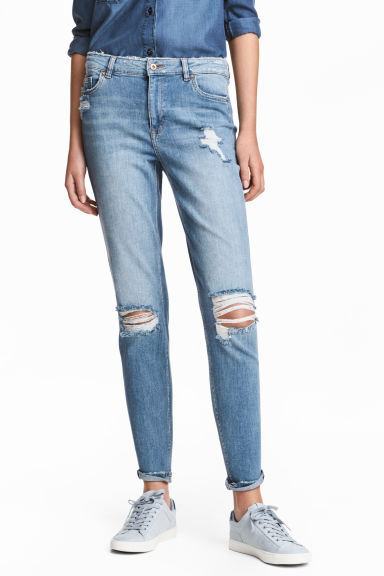 Boyfriend Low Trashed Jeans  - Light denim blue - Ladies | H&M CN 1
