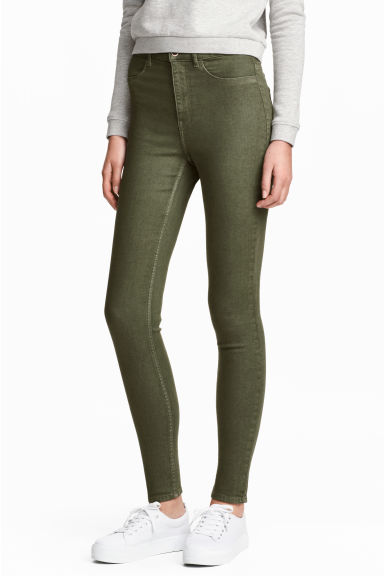 Super Skinny High Jeans - Khaki green - Ladies | H&M CN 1