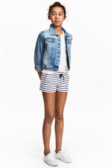 Jersey shorts - White/Dark blue/Striped - Kids | H&M 1