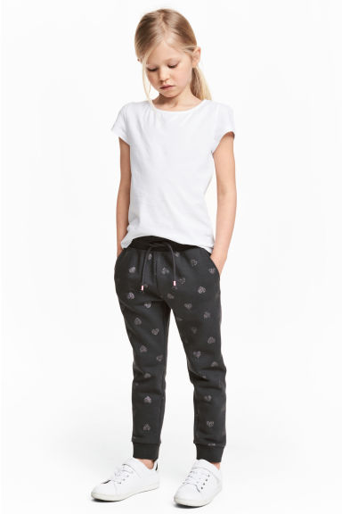 Sweatpants - Dark grey/Hearts -  | H&M CN 1