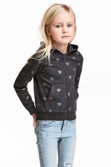 Hooded jacket - Dark grey/Hearts - Kids | H&M 1