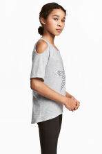 Cold shoulder top - Grey marl/Star - Kids | H&M CN 1