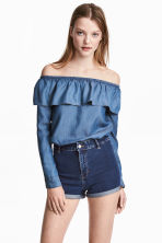 Off-the-shoulder blouse - Denim blue - Ladies | H&M 1