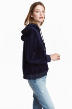 Velour hooded top - Dark blue - Ladies | H&M 1
