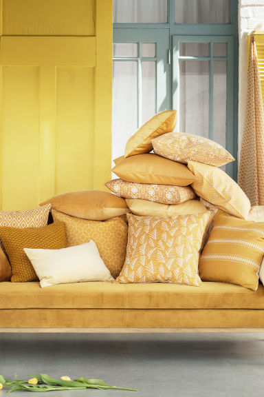Housse de coussin à motif - Jaune moutarde/feuille - Home All | H&M FR 1