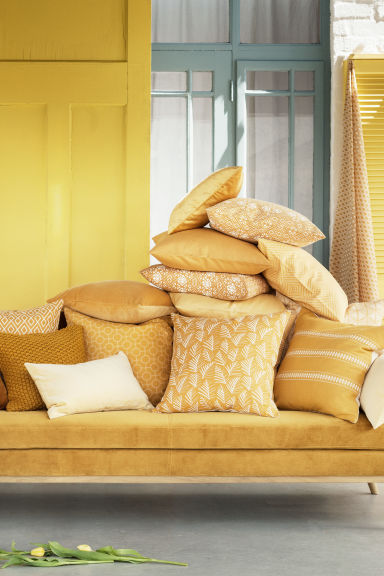 Housse de coussin à motif - Jaune moutarde - Home All | H&M FR 1