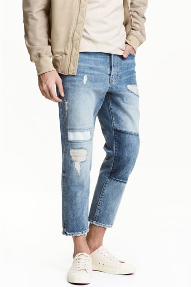 Straight Cropped Jeans - Light denim blue - Men | H&M 1