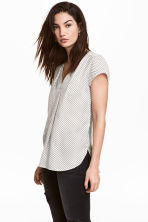 V-neck blouse - White/Spotted -  | H&M 1