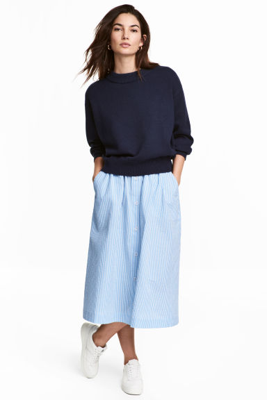 Seersucker skirt - Light blue/White striped -  | H&M 1