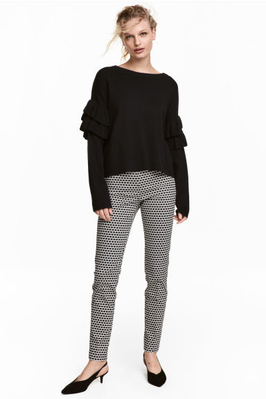 Cigarette trousers - Black/White/Patterned - Ladies | H&M GB 1