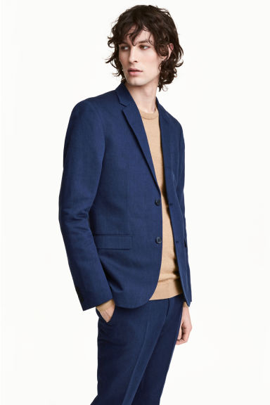 Linen-blend jacket Slim fit - Navy/Patterned -  | H&M