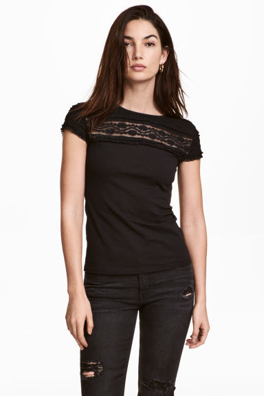 Lace top - Black - Ladies | H&M 1