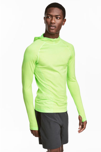 Seamless hooded running top - Neon yellow - Men | H&M 1
