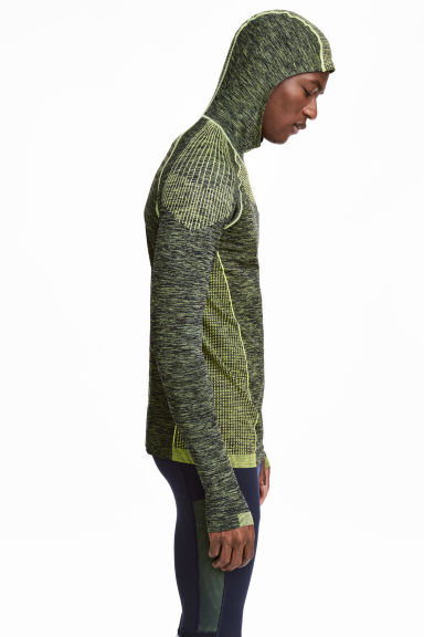 Seamless hooded running top - Neon green marl - Men | H&M