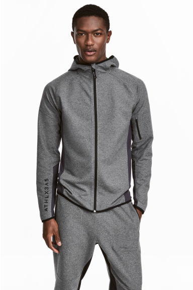 Hooded sports jacket - Dark grey marl - Men | H&M 1
