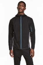 Hooded sports jacket - Black/Grey-blue - Men | H&M CN 1