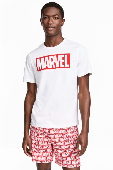 Pyjama T-shirt and shorts - White/Marvel Comics - Men | H&M 1