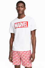 Pyjama T-shirt and shorts - White/Marvel Comics - Men | H&M CN 1