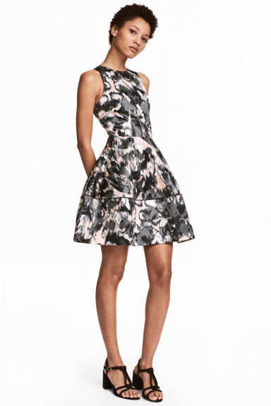Patterned satin dress - Powder/Patterned - Ladies | H&M CN 1