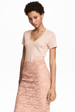 Linen jersey top - Powder pink marl - Ladies | H&M 1