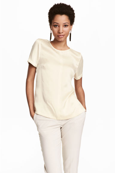 Short-sleeved silk blouse - Natural white - Ladies | H&M CA 1