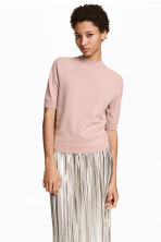 Cashmere short-sleeved jumper - Powder pink - Ladies | H&M CN 1