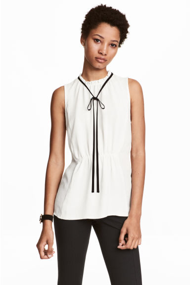 Sleeveless blouse - White - Ladies | H&M IE