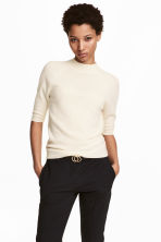 Cashmere short-sleeved jumper - Natural white - Ladies | H&M 1