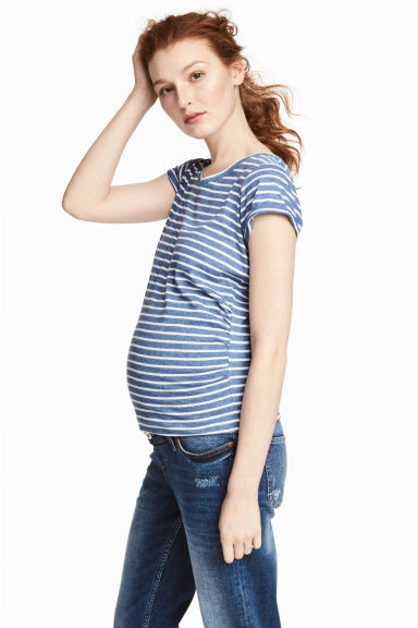 MAMA Jersey top - Dark blue/Striped - Ladies | H&M 1