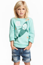 圖案運動衫 - Mint green/Shark - Kids | H&M 1