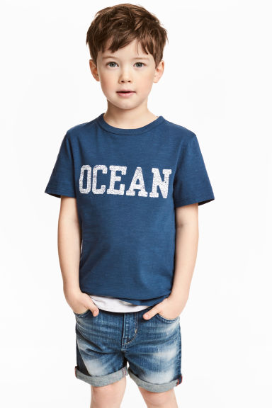 Printed T-shirt - Dark blue - Kids | H&M CA