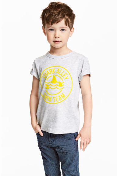 Printed T-shirt - Light grey marl - Kids | H&M 1