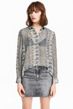 Chiffon shirt - Grey/Patterned -  | H&M 1