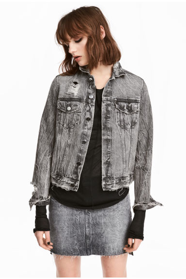 Trashed denim jacket - Black washed out - Ladies | H&M