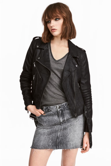 Denim skirt - Black washed out - Ladies | H&M