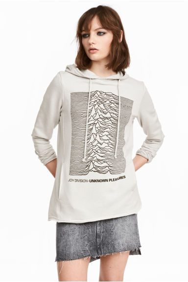 Printed hooded top - Grey/Joy Division - Ladies | H&M CN
