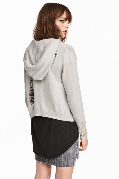 Trashed hooded cardigan - Light grey - Ladies | H&M 1