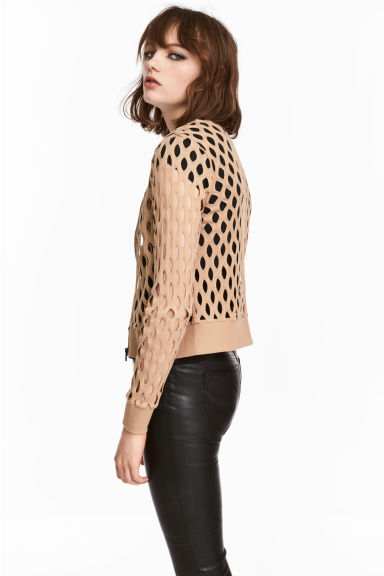 Hole-patterned cardigan - Beige - Ladies | H&M 1