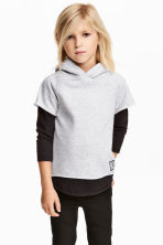 Hooded top with jersey sleeves - Light grey marl - Kids | H&M 1