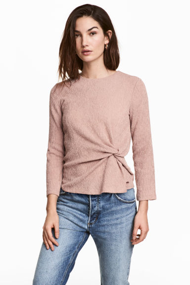 Crinkled jersey top - Light pink -  | H&M CN 1
