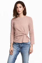 Crinkled jersey top - Light pink -  | H&M GB 1