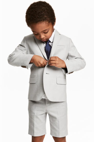 Textured-weave blazer - Light grey - Kids | H&M