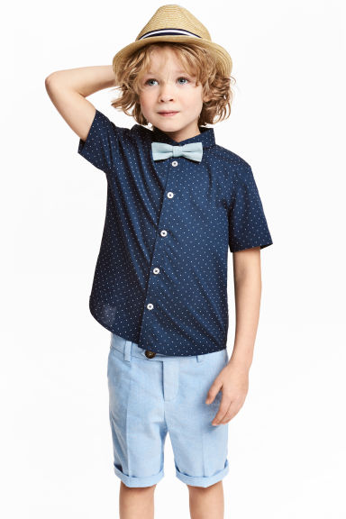 Shirt with tie/bow tie - Dark blue -  | H&M 1