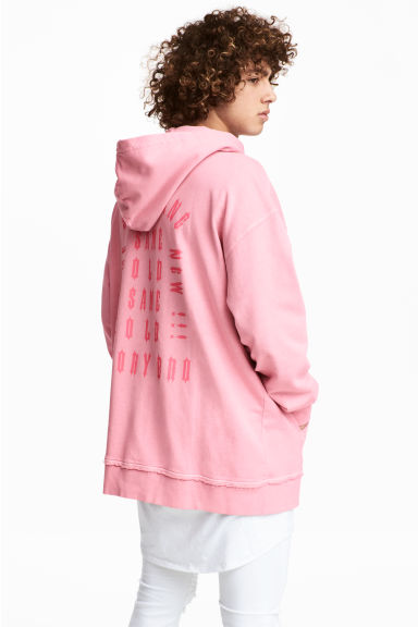 Printed hooded top - Light pink - Men | H&M 1