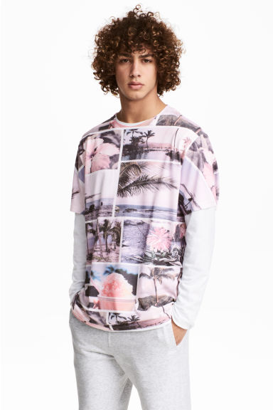 Patterned T-shirt - Light pink - Men | H&M