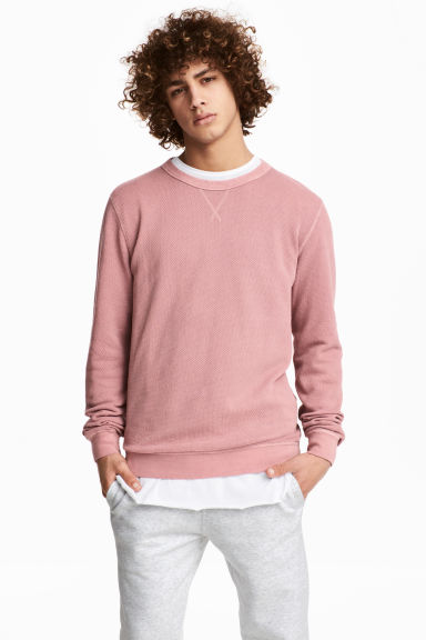 Textured sweatshirt - Pale pink -  | H&M